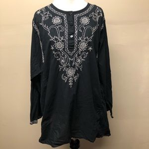 Venezia Lane Bryant Embroidered Boho Blouse 1X
